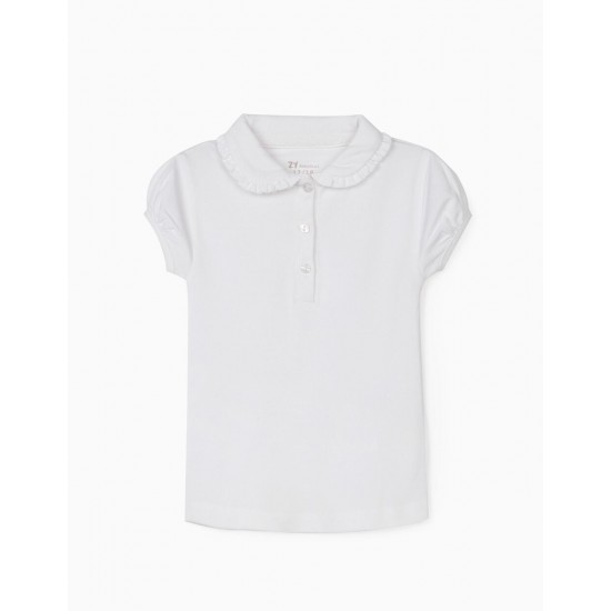 PIQUÉ KNITTED POLO SHIRT FOR BABY GIRL, WHITE