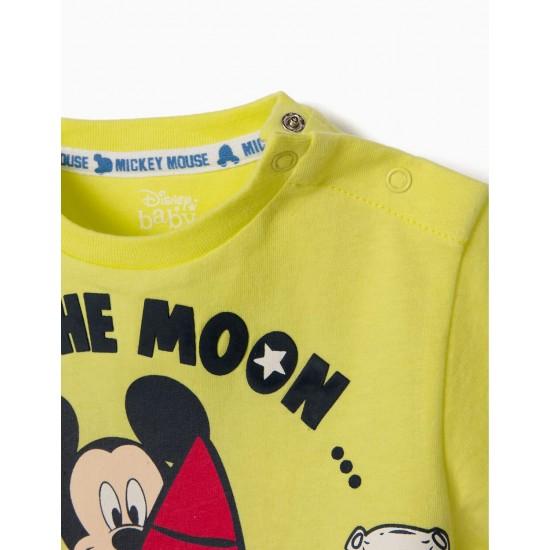 'MICKEY MOON' BABY BOY T-SHIRT, LIME YELLOW