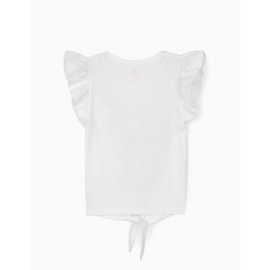 GIRLS 'MINNIE' T-SHIRT WITH BOW FRONT, WHITE