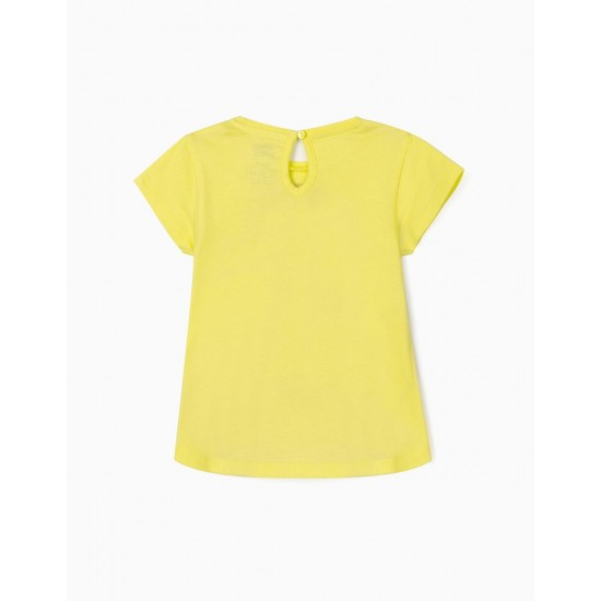 T-SHIRT FOR BABY GIRL 'MINNIE', LIME YELLOW