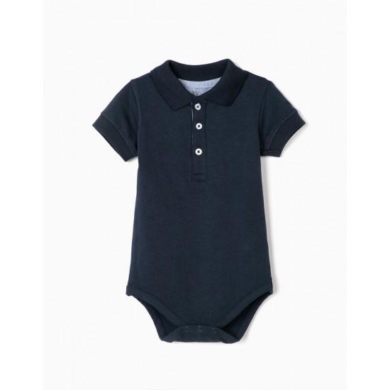 POLO BODYSUIT FOR BABY BOY, DARK BLUE